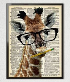 Brainy Giraffe with No.2 pencil... cant resist a good crossword puzzle! A high quality giclee of my original digital montage over a special