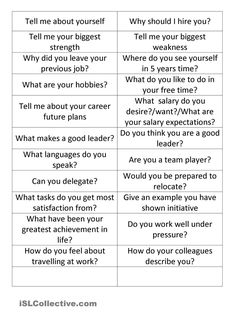 Use the cards to answer the questions. Job Interview Answers, Student Interview, Job Interview Preparation, Online Interview, Job Interview Tips, Job Interviews, Job Coaching, School Secretary, Job Search Tips
