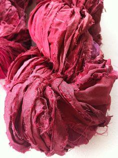 Sari silk ribbon, pomegranate, 10 yards, recycled yarn, knitting yarn, crochet yarn, ribbon yarn by Yarnyarnyarns on Etsy