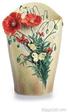 FRANZ PORCELAIN COLLECTION Van Gogh Poppy Flower Vase FZ02406 transitional-vases