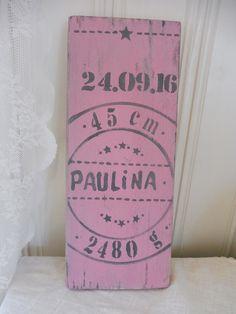 Weiteres - Geburtsschild Holz rosa oder hellblau mit Emblem - ein Designerstück von nostalgie-in-holz bei DaWanda