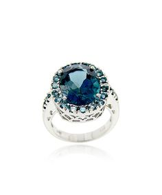 London Blue Topaz  Sterling Silver Cocktail Ring