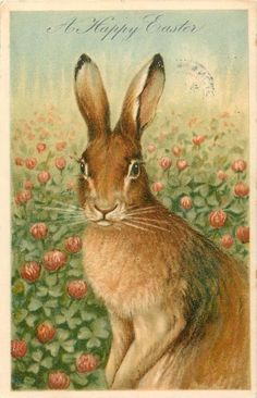 """Vintage """"Happy Easter"""" card with tulips and a bunny Easter Art, Hoppy Easter, Easter Bunny, Vintage Cards, Vintage Postcards, Easter Vintage, Easter Parade, Easter Celebration, Fauna"""