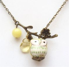 Antiqued Brass Leaf  Quartz Jade Porcelain Owl Necklace.