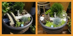 """FAIRY GARDEN IN A CONTAINER """"I've always been intrigued by fairy gardens. I wanted to make one in a container that I could enjoy on my deck. I also wanted to put it on a stand so that it could be eye-level for my grandson. It is the first fairy garden I have ever made and I have enjoyed it very much."""""""