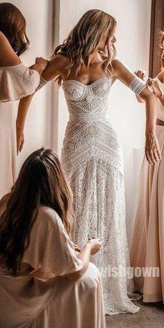 Ivory Lace Strapless Boho Beach Wedding Dresses, – The Best Ideas Bridal Wedding Dresses, Dream Wedding Dresses, Boho Beach Wedding Dress, Strapless Wedding Dresses, Boho Beach Style, Bohemian Wedding Gowns, Beach Gowns, Ivory Lace Wedding Dress, Lace Bride