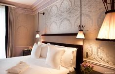 La Réserve Hotel & Spa is a 5 star luxury hotel overlooking the Eiffel Tower, just a stone's throw from the Champs-Elysées where the heart of Paris beats. Hotel Paris, Paris Hotels, The Cloisters, Hotel Spa, Decoration, Bed Pillows, Sweet Home, Ceiling Lights, Furniture