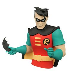A Diamond Select Toys release! Batman needs his Robin, and so does your bust collection! Dick Grayson, the original Robin, is the latest addition to DST's line of busts based on Batman: The Animated Series. Robin, Comic Book Heroes, Comic Books, Batman Collectibles, New Nightmare, Batman The Animated Series, Animation Series, Dc Comics, Action Figures