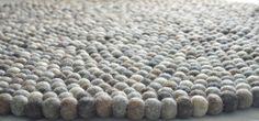 Natural grey felt ball rug 100 cm by feltnyarn on Etsy
