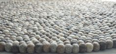 Natural grey felt ball rug 100 cm by feltnyarn on Etsy, $150.00
