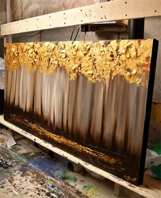 Original Tree Painting 48 Abstract Contemporary Gold