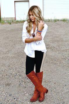 Cara Loren Perfect Fall Outfit: white button down top, black leggings and knee high cognac boots #fall2013 #caraloren