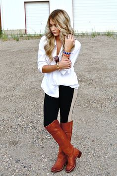 Cara Loren Perfect Fall Outfit: white button down top, black leggings and knee high cognac boots #fall2013 #caraloren