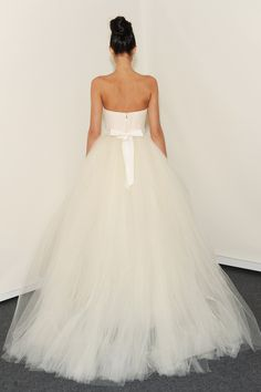 Eve of Miladay - Spring Bridal 2014  TAGS:Floor-length, Meringue, Strapless, White, Eve of Milady, Organza, Tulle, Princess