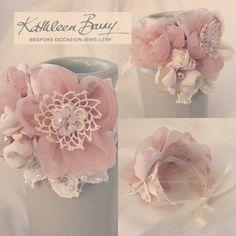 Vintage Lace wrist corsage  Blush Pink by KathleenBarryJewelry, #wedding #brides #bridesmaids blush pink