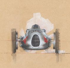Auto Union Type D by Emmanuel Mergault Grand Prix, Car Pictures, Photos, Car Illustration, Technical Illustration, Car Posters, Car Drawings, Vintage Racing, Vintage Auto