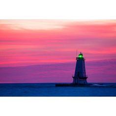 Lighthouse on the coast at dusk Ludington North Pierhead Lighthouse Lake Michigan Ludington Mason County Michigan USA Canvas Art - Panoramic Images (18 x 24)