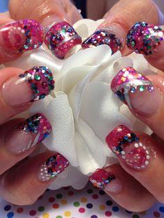 Pink bubble gum nail art rainbow glitter acrylic