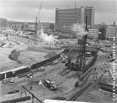 Bouw metrostation Coolsingel / Hofplein 1962