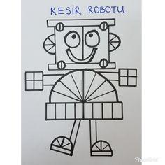 Kesir robotu....Cannur HAZNEDAR Fraction Activities, Math Activities, Primary Teaching, Teaching Math, Math For Kids, Fun Math, Math Sheets, Shape Crafts, 5th Grade Math