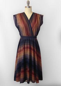70s Sheer V-Neck Striped Dress  // Rust Brown by OnMyBlockVintage
