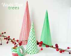 Washi Tape Trees Are you a washi tape hoarder like me? Need a fun holiday way to use some of that pretty little tape? haha} Well, these washi tape Christmas trees are just for you! Super quick and easy, and they look to Christmas Tree Crafts, Winter Christmas, All Things Christmas, Holiday Crafts, Holiday Fun, Christmas Holidays, Christmas Decorations, Christmas Ornaments, Christmas Ideas