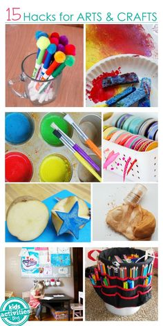 These 15 Hacks for arts and crafts will make activities so much more fun! Get those paint supplies organized and contained with these genius hacks from kids activities blog.
