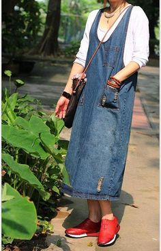 2016 Denim Strap Casual Loose Dress - BUYINDRESS