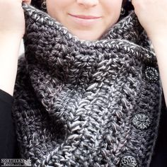 Crochet Pattern - Arctic Chill Cowl (scarf) Crochet cowl pattern - crochet scarf pattern - button cowl - button up cowl - over sized cowl - winter crochet - chunky crochet scarf - easy crochet pattern - beginner crochet pattern
