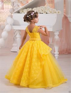 Honey Qiao Flower Girl Dresses 2017 Ball Gown Lace Ruffle Beaded Kids Evening Dress Pageant Dresses for Little Girls Girls Pageant Dresses, Girls Dress Shoes, Gowns For Girls, Prom Party Dresses, Dress Party, Prom Dress, Flower Girls, Yellow Flower Girl Dresses, Little Girl Dresses