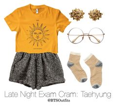 """""""Late Night Exam Cram: Taehyung"""" by btsoutfits ❤ liked on Polyvore featuring American Apparel, Madewell and Hermès"""