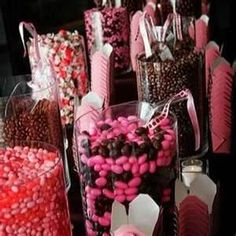 Brown and pink candy buffet