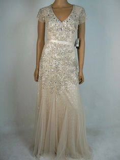 Adrianna Papell Ivory Silver Short Sleeve Beaded Godet Gown NWT ALL Sizes $320