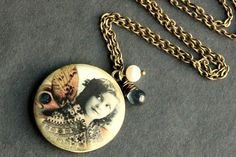 Locket Necklace, Necklaces, Pendant Necklace, Moth Wings, Valentines Sale, Vintage Fairies, Cameo Jewelry, Deep Blue, Fresh Water