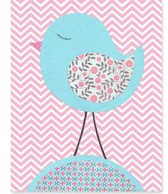Pink and Aqua Nursery Art Print Bird Zig Zag by SweetPeaNurseryArt, $15.00