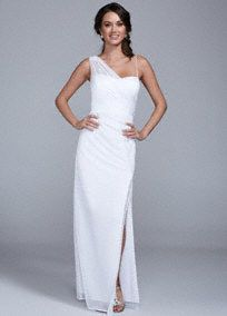 Make a captivating statement on your special day in this Grecian inspired wedding dress!  Features faux illusion one shoulder with lightly draped bodice that is very flattering.  Long soft a-line silhouette with front slit is ultra-chic.  Fully lined. Back zip. Imported polyester. Dry clean only.  To protect your dress, try our Non Woven Garment Bag.