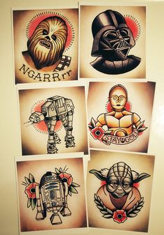 Star Wars Traditional Tattoo Flash Set via Etsy. Darth Vader Tattoo, R2d2 Tattoo, Tattoo Set, Trendy Tattoos, Cool Tattoos, Tatoos, Desenhos Old School, Chewbacca, Flash Tattoo