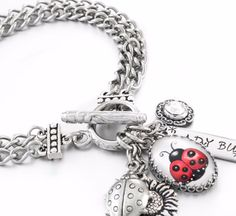 In my charm jewelry shop you will find a large selection of silver charm bracelets, Ladybug Bracelet, Silver Ladybug Jewelry, Ladybug Bracelet, Lady Bug Charms, and charm necklaces, dangle earrings as