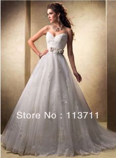 Striking Satin Sash Appliques Embellished Tulle Brush Train Spaghetti Strap Wedding Dresses  $175.00