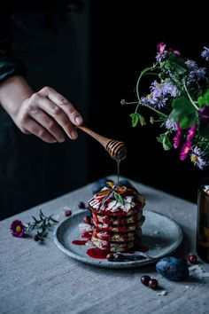 glutenfree poppyseed goat cheese pancakes with cranberry sauce / Wholesome Foodie <3