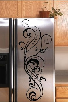 Vinyl Lettering Decal Refrigerator Flourish - Refrigerator - Trending Refrigerator for sales. - Vinyl Lettering Decal Refrigerator Flourish by SayItWithStyle Decor, Home Projects, Home Improvement, Home Decor, Home Deco, Wall Stickers, Vinyl Lettering, Home Kitchens, Wall Decals
