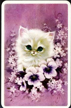 Lil pansies for you and pearls ~ Vintage Kitty Card - Lilac Flowers