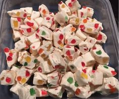 Nougat Recipe -yummy- Ingredients : Nougat: 2 tbsp Butter 2 bags Mini Marshmallows per bag) 2 bags White Chocolate Chips per bag) 2 cups Gumdrops. Directions : Melt first 3 ingre… Christmas Desserts, Christmas Treats, Christmas Lunch Ideas, Christmas Cookies, Holiday Baking, Christmas Baking, Fudge Recipes, Dessert Recipes, Quick Recipes