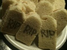 Tombstone Finger Sandwiches--could use any Halloween cookie cutter
