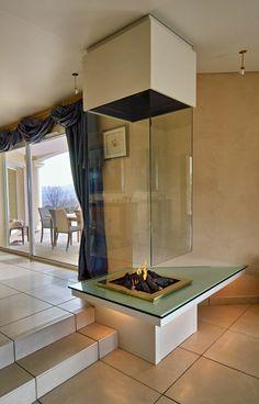 Bloch Design Glass Fireplace from Bloch Custom Fireplace, Modern Fireplace, Fireplace Design, Fireplace Glass, Luxury Interior Design, Interior Design Inspiration, Interior And Exterior, Interior Ideas, Luxury Homes