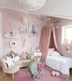 The couch and chair ❤️❤️ Adorable Girl's bedroom decor, pale pink and white. Bedroom Themes, Girls Bedroom, Bedroom Decor, Bedroom Ideas, Kids Bedroom Designs, Little Girl Rooms, My New Room, Room Inspiration, Kids Room