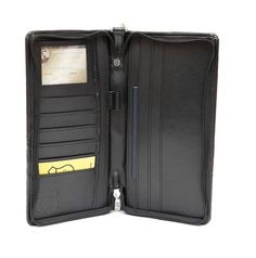 Ashlin® RFID Blocking Passport and Ticket Wallet - Genuine Vegan Leatherette Zippered - 6 Credit Card Pockets, 3 Travel Document Pockets - Keeps Your Identity Safe, Blocks Electronic Pick Pocketing [RFIDT7774-00-01] *** Quickly view this special  product, click the image : Travel accessories