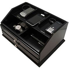 Premier Black Charging Station Valet | Overstock.com Shopping - The Best Deals on Watch Boxes