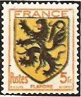 1944 - Stemmi di province francesi - II serie - Flandre - 5 f.