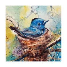 Blue Bird in a Nest Art Print Bird Watercolor Painting Art in Bright Colors Bird Nature Wall Print Archival Print by CanotStop Painting Watercolor Bird, Watercolor Paintings, Original Paintings, Oil Paintings, Painting Prints, Art Prints, Painting Art, Bird Wall Art, Oeuvre D'art